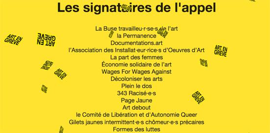 les signataires de art en greve
